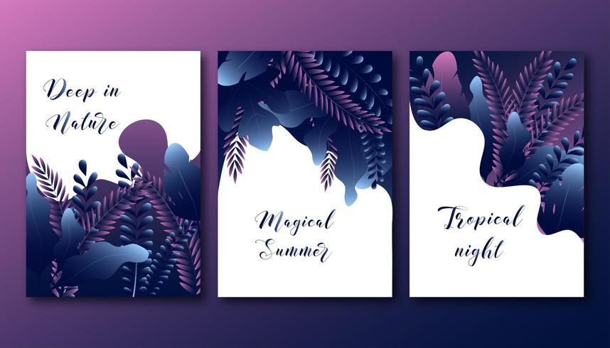 Sommerplakate eingestellt mit abstrakten modischen Steigungswaldblättern