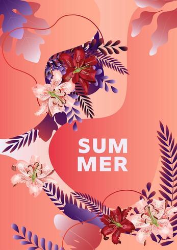 Sommerplakat mit Lilienblumen, Blättern und abstrakten flüssigen Formen