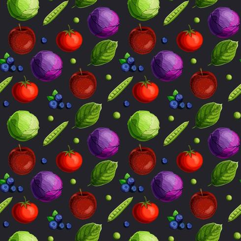 Seamless pattern with fesh vegetables, fruits, berries and green leaves