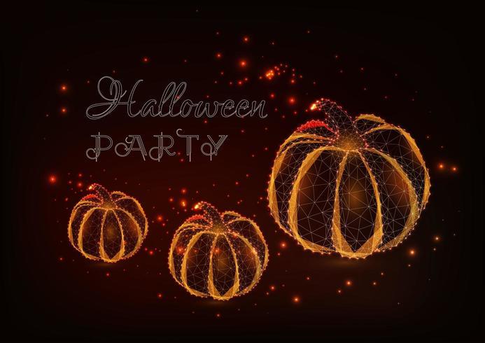 Tre zucche poligonali basse incandescenti, stelle e testo della festa di Halloween