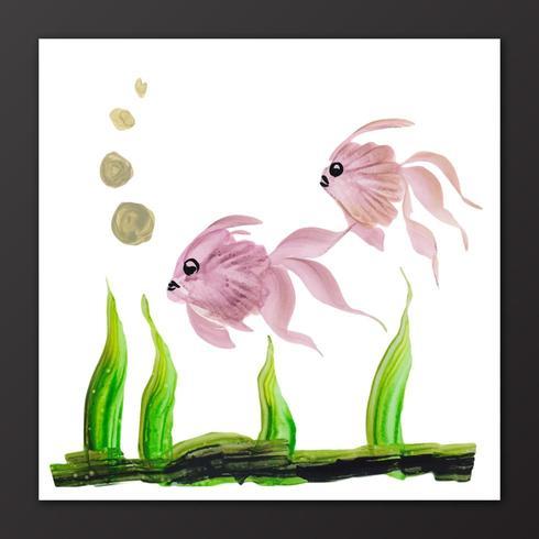 Peixes bonitos da aguarela