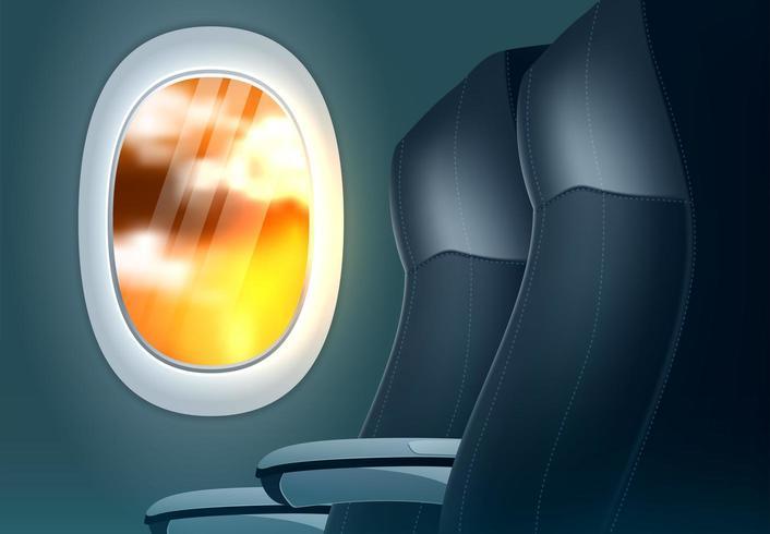 Concepto de oferta de viaje con avión de ojo de buey vector