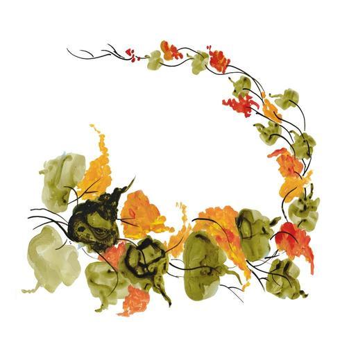 Aquarela Floral com folhas
