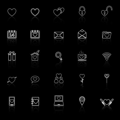 Love line icons with reflection
