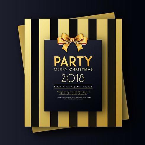 Golden auf schwarzer Party-Einladungs-Karte der frohen Weihnachten und des guten Rutsch ins Neue Jahr-2018