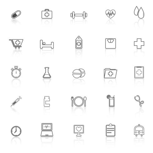 Health line icons with reflection