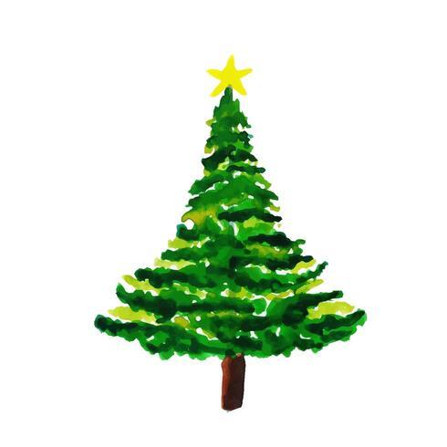 Hand getekend aquarel kerstboom