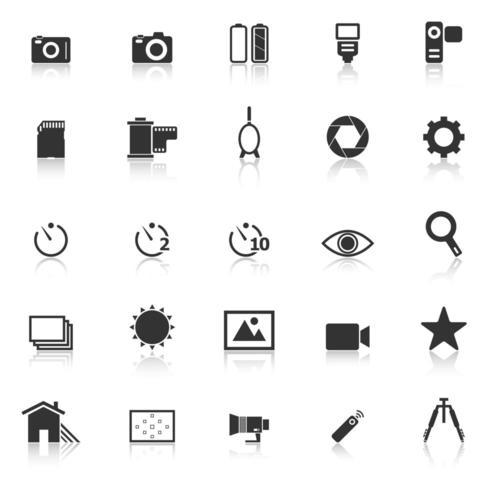 Icone della fotocamera con la riflessione
