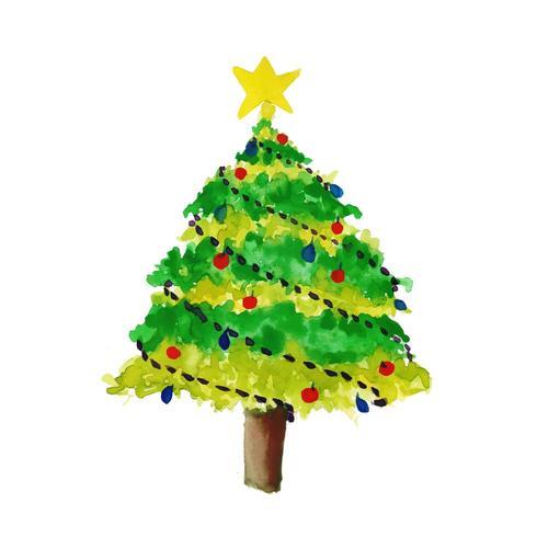 Árbol de Navidad acuarela dibujada a mano vector
