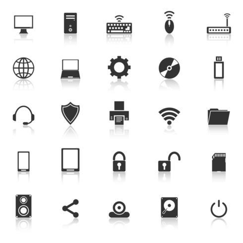Iconos de computadora con reflejo vector