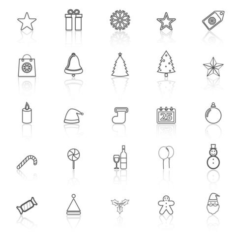 Jul linje ikoner med reflektion vektor