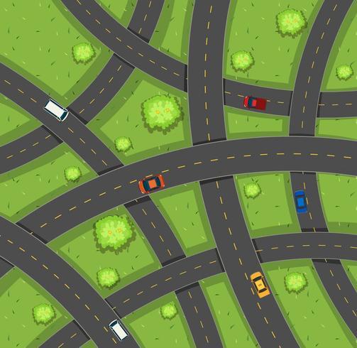 Flygfoto över bilar på vägar vektor