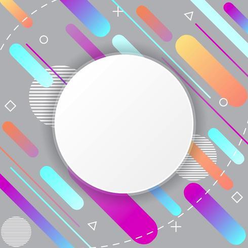 Patrón de Memphis sobre fondo gris con adhesivo circular vector