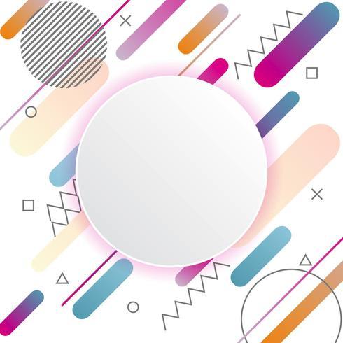 Memphis-Muster auf weißem Hintergrund mit Kreisaufkleber