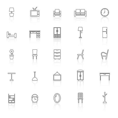Iconos de línea de muebles con reflejo vector