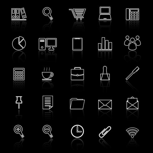 Iconos de línea de oficina con reflejo vector