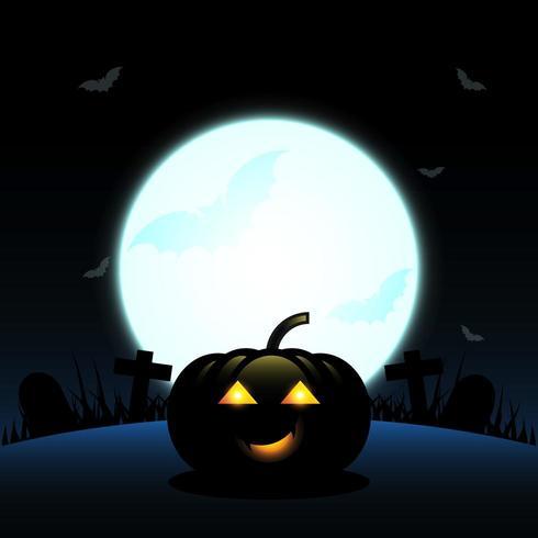 Zucca di Halloween su sfondo di luna piena