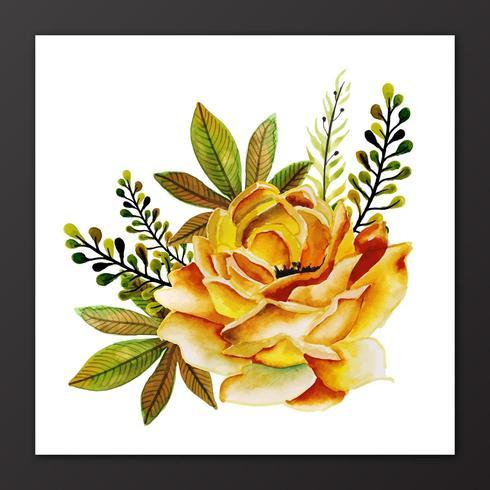Schönes Aquarell mit Blumen mit Blättern