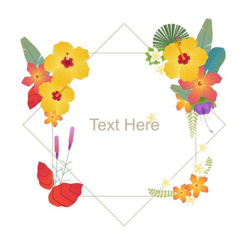 Tropische Blumenkartenschablone