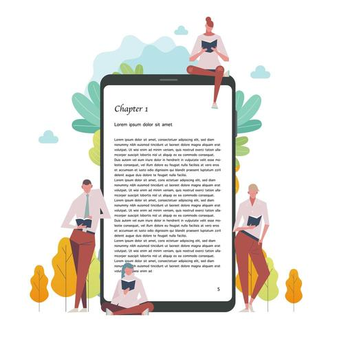 People reading books by a digital device vector
