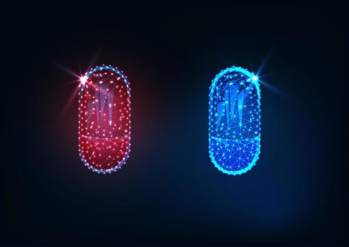 Futuristisch leuchtende rote und blaue Pille