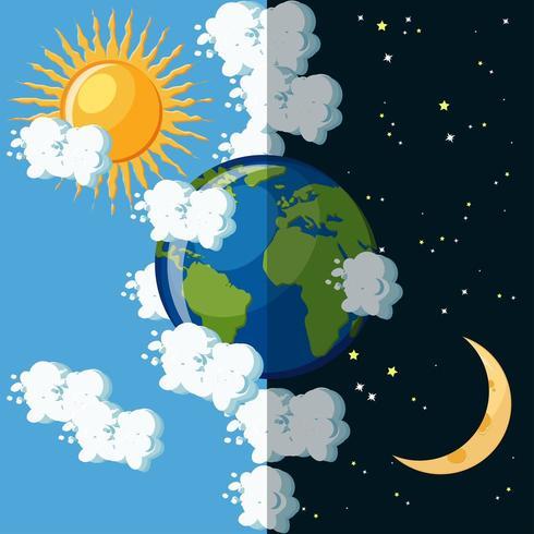 Día y noche en el planeta Tierra. vector