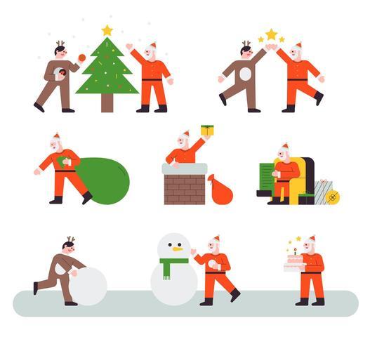 Conjunto de caracteres de Papai Noel e renas de Natal vetor