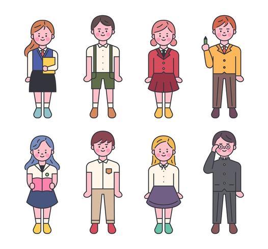 Conjunto de personajes de uniforme escolar