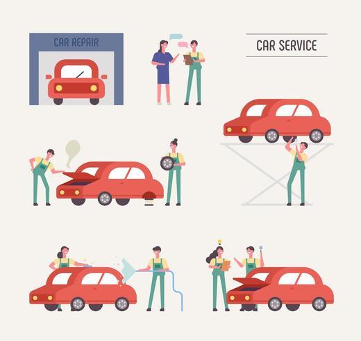 Mecânicos e clientes na oficina de reparação automóvel
