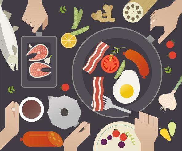 Bovenaanzicht van mensen koken