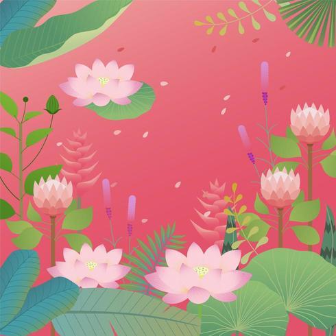 Tropische Blätter und Lotosblumenhintergrunddesign