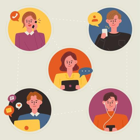 Personas conectadas a través de dispositivos móviles vector