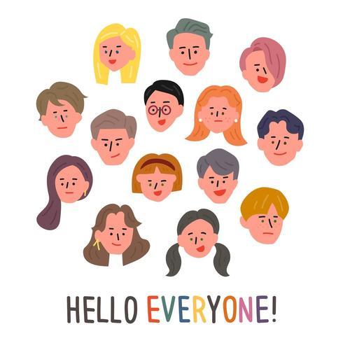 Conjunto de caras de personas vector