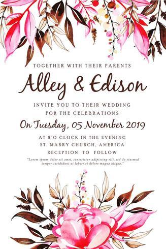 Carta di invito matrimonio floreale dell'acquerello vettore