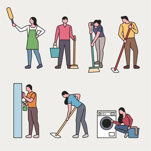 Conjunto de personas personas haciendo limpieza de la casa vector
