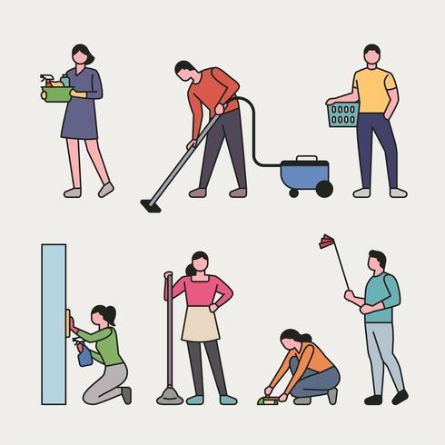 Conjunto de personas personas limpiando una casa vector