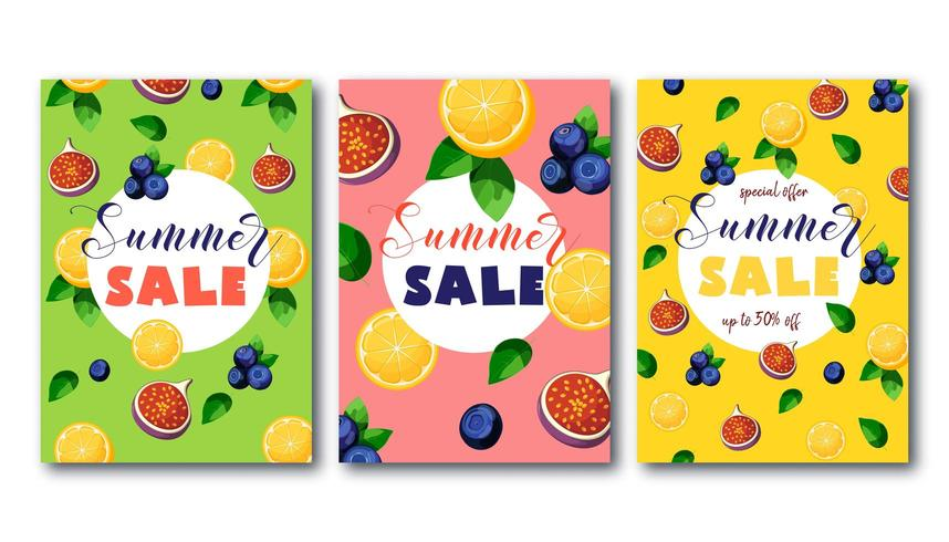 Summer sale flyers set with bright colorful fruits