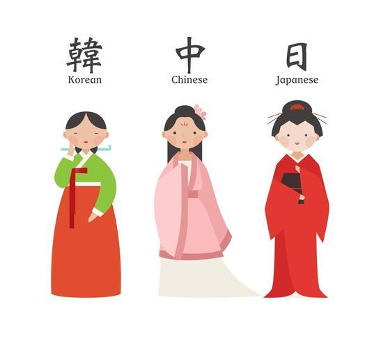 Vrouwelijk tekenset dat Aziatisch traditioneel kostuum draagt