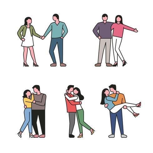 Conjunto de caracteres de pareja en estilo de contorno vector