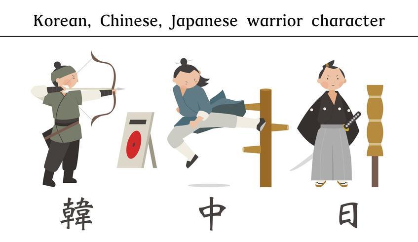 Personaggi maschili guerriero vestiti in costumi tradizionali asiatici vettore