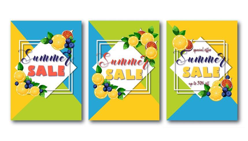 Folletos de rebajas de verano con frutas coloridas y brillantes vector