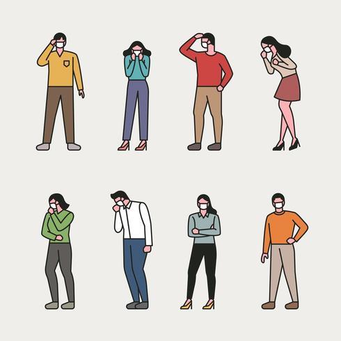 Uppsättning av människor som bär masker. vektor