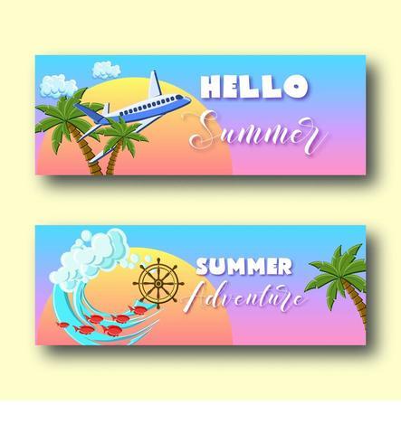 Banners de férias de verão com palmeiras vetor
