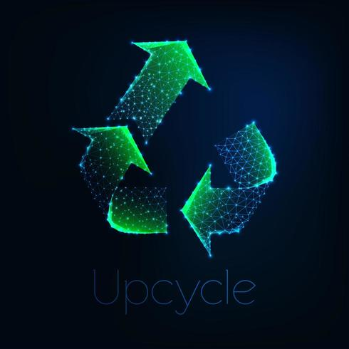 Símbolo verde poligonal bajo brillante futurista