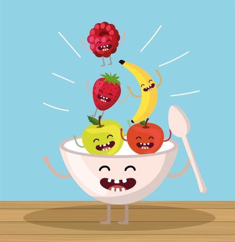 mele felici con fragole e more che cadono nella tazza vettore
