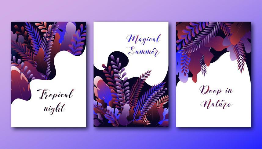 Set di modello di poster con brillante foresta sfumata vettore