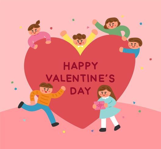 Bambini carini intorno a un grande cuore per San Valentino vettore