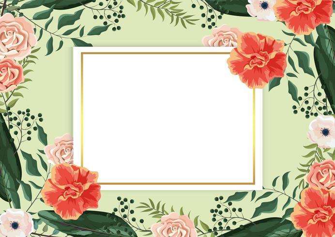 Tarjeta con rosas y ramas exóticas y hojas en segundo plano.