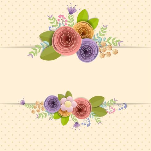 Bordo di fiori di carta artigianale con spazio per il testo vettore