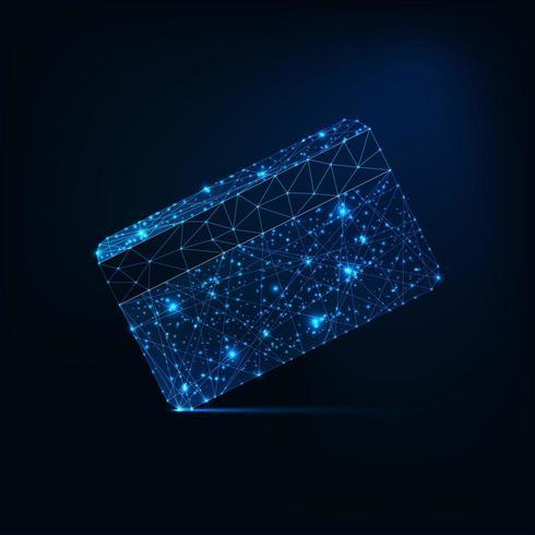 Carta di credito futuristica bassa incandescente poligonale